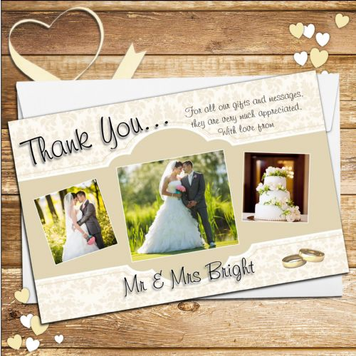 10 Personalised Gold Wedding Thank you PHOTO cards N205